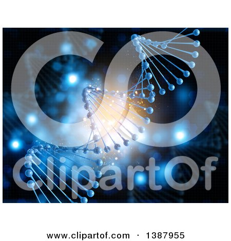 Clipart of a Background of a 3d Blue DNA Strand over Flares - Royalty Free Illustration by KJ Pargeter