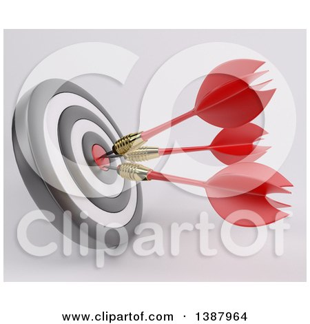 Clipart of a 3d Target with Three Darts in the Bulls Eye, on a Shaded Background - Royalty Free Illustration by KJ Pargeter