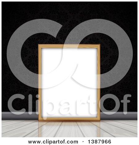 Clipart of a Blank Wood Picture Frame Resting on a Wood Floor Against a Black Damask Wall - Royalty Free Vector Illustration by KJ Pargeter