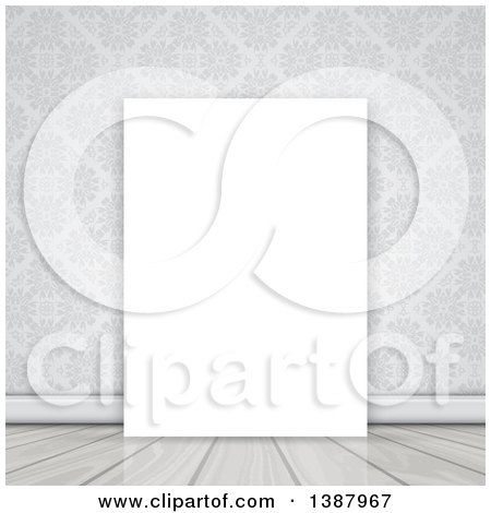 Clipart of a Blank Canvas Leaning Against a Wall with Damask - Royalty Free Vector Illustration by KJ Pargeter