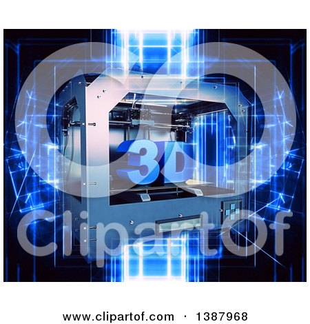 Clipart of a 3d Printer over Blue Futuristic Lights, on Black - Royalty Free Illustration by KJ Pargeter