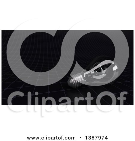 Clipart of a 3d Glass Light Bulb on a Black Grid - Royalty Free Illustration by KJ Pargeter