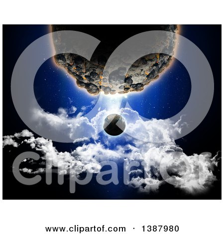 Clipart of a 3d Large Planet Dwarfing Another over Clouds - Royalty Free Illustration by KJ Pargeter