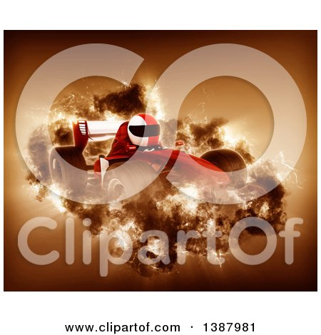 Clipart of a 3d Driver in a Forumula One Race Car with a Storm Effect - Royalty Free Illustration by KJ Pargeter