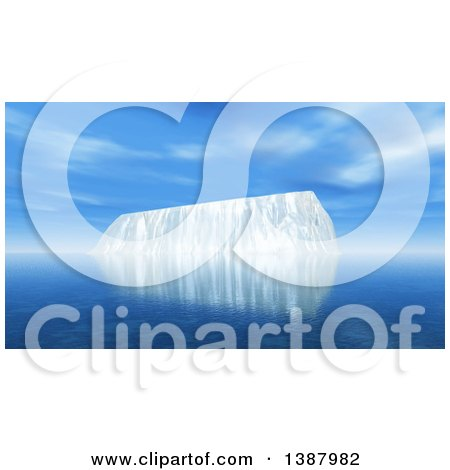 Clipart of a 3d Iceberg in the Ocean on a Sunny Day - Royalty Free Illustration by KJ Pargeter