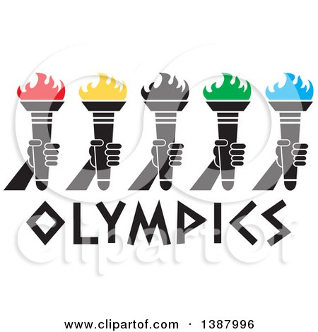 Clipart of a Row of Hands Holding Torches with Colorful Flames over Olympics Text - Royalty Free Vector Illustration by Johnny Sajem