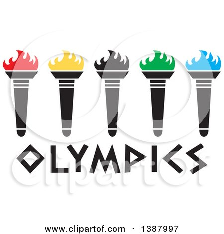 Clipart of a Row of Torches with Colorful Flames over Olympics Text - Royalty Free Vector Illustration by Johnny Sajem