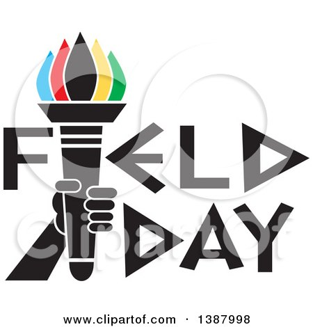 Clipart of a Hand Holding an Olympic Torch with Colorful Flames in Field Day Text - Royalty Free Vector Illustration by Johnny Sajem