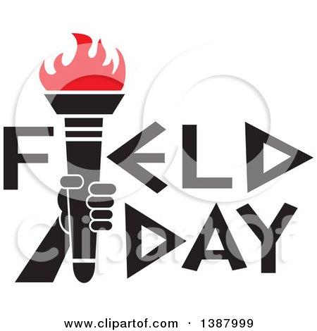 Clipart of a Hand Holding an Olympic Torch with Red Flames in Field Day Text - Royalty Free Vector Illustration by Johnny Sajem