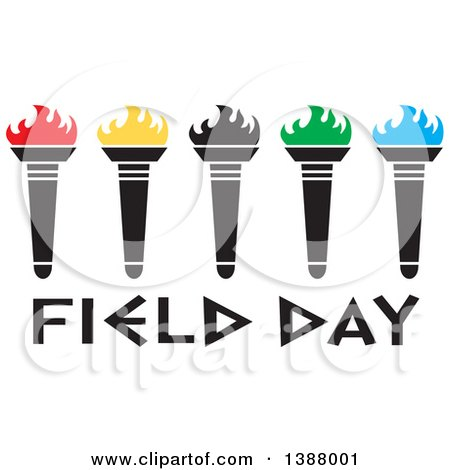Clipart of a Row of Olympic Torches with Colorful Flames over Field Day Text - Royalty Free Vector Illustration by Johnny Sajem
