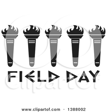 Clipart of a Row of Black and White Olympic Torches over Field Day Text - Royalty Free Vector Illustration by Johnny Sajem