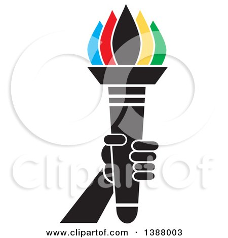 Clipart of a Hand Holding an Olympic Torch with Colorful Flames - Royalty Free Vector Illustration by Johnny Sajem