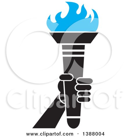 Clipart of a Hand Holding an Olympic Torch with Blue Flames - Royalty Free Vector Illustration by Johnny Sajem