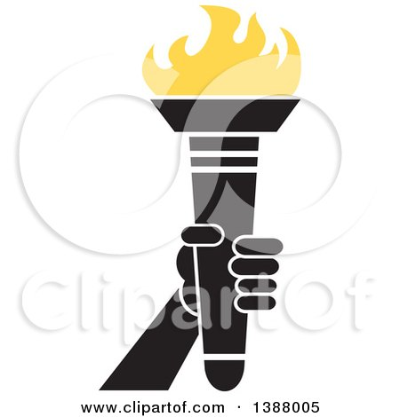 Clipart of a Hand Holding an Olympic Torch with Yellow Flames - Royalty Free Vector Illustration by Johnny Sajem