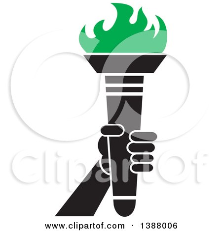 Clipart of a Hand Holding an Olympic Torch with Green Flames - Royalty Free Vector Illustration by Johnny Sajem