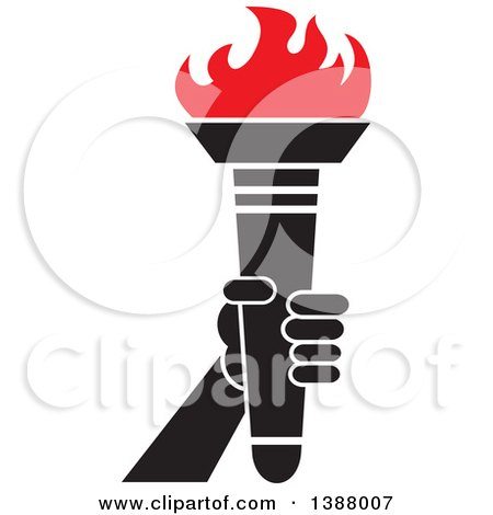 Clipart of a Hand Holding an Olympic Torch with Red Flames - Royalty Free Vector Illustration by Johnny Sajem
