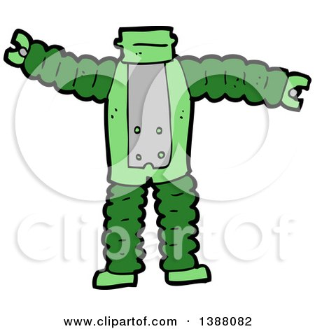 Clipart of a Cartoon Headless Robot Body - Royalty Free Vector Illustration by lineartestpilot