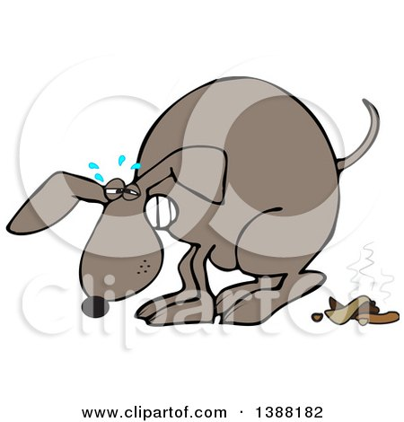 Clipart of a Cartoon Brown Dog Straining and Pooping - Royalty Free Vector Illustration by djart