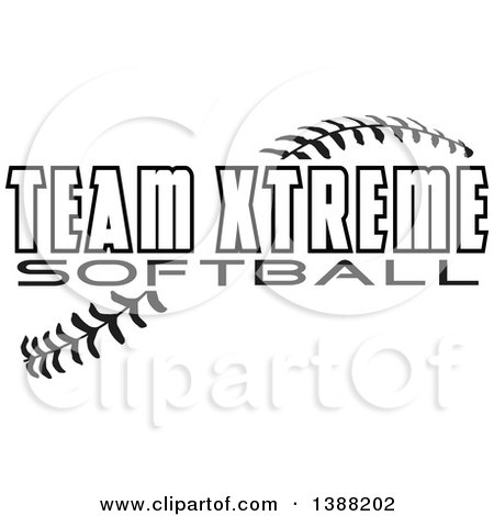 Clipart of Black and White TEAM XTREME SOFTBALL Text over Baseball Stitches - Royalty Free Vector Illustration by Johnny Sajem