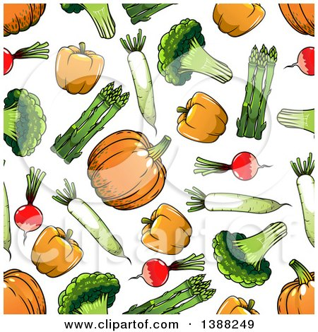 Clipart of a Seamless Background Pattern of Vegetables - Royalty Free Vector Illustration by Vector Tradition SM