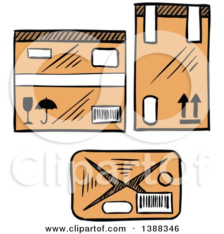 Clipart of Sketched Shipping Boxes - Royalty Free Vector Illustration by Vector Tradition SM