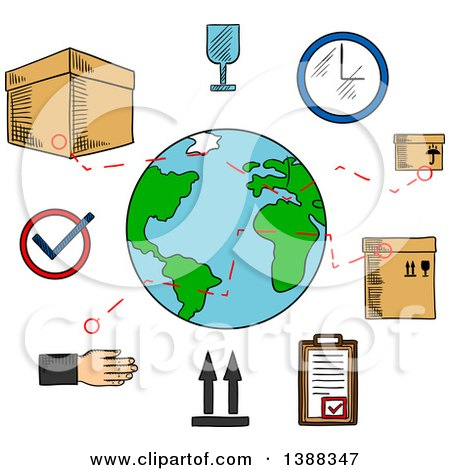 Clipart of Sketched Worldwide Shipping and Logistics Service Icons - Royalty Free Vector Illustration by Vector Tradition SM