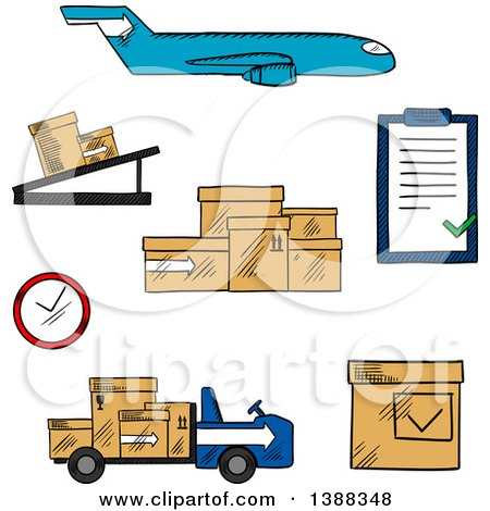 Clipart of a Sketched Airplane, Conveyor, Cardboard Boxes with Packaging Symbols, Airport Truck, Clock and Clip Board with Order List - Royalty Free Vector Illustration by Vector Tradition SM