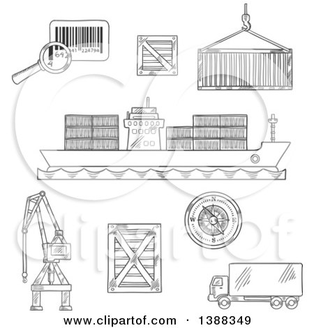 Clipart of Sketched Dark Gray Shipping and Logistics Icons - Royalty Free Vector Illustration by Vector Tradition SM