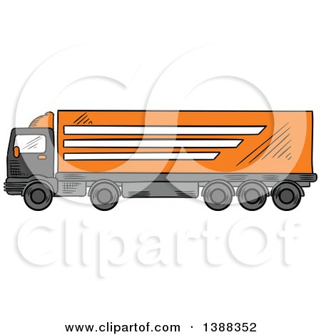 Clipart of a Sketched Big Rig Truck - Royalty Free Vector Illustration by Vector Tradition SM