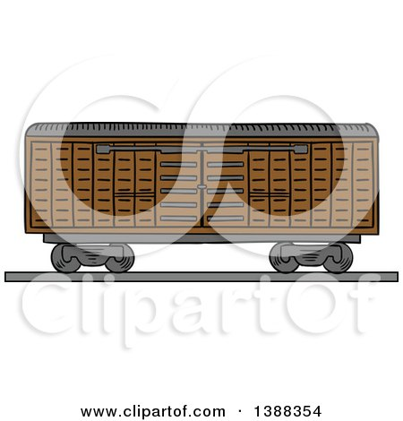 Clipart of a Sketched Cargo Container Being Lifted - Royalty Free Vector Illustration by Vector Tradition SM