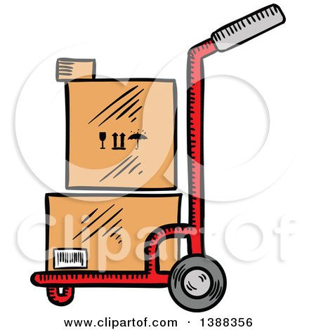 Clipart of Sketched Shipping Boxes on a Dolly - Royalty Free Vector Illustration by Vector Tradition SM