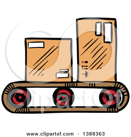 Clipart of Sketched Shipping Boxes on a Belt - Royalty Free Vector Illustration by Vector Tradition SM