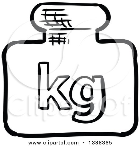 Clipart of a Sketched Kg Shipping Icon - Royalty Free Vector Illustration by Vector Tradition SM
