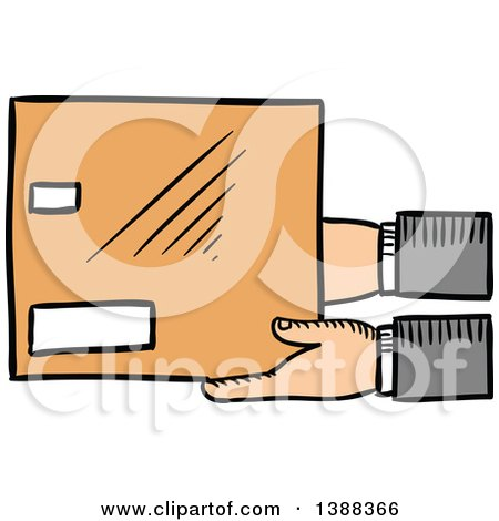 Clipart of Sketched Hands Holding a Shipping Box - Royalty Free Vector Illustration by Vector Tradition SM