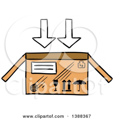 Clipart of a Sketched Shipping Box - Royalty Free Vector Illustration by Vector Tradition SM