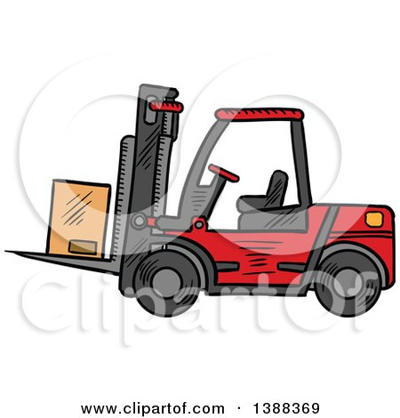 Clipart of a Sketched Shipping Box on a Forklift - Royalty Free Vector Illustration by Vector Tradition SM