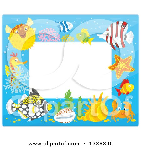 Clipart of a Horizontal Border Frame of Marine Fish and Sea Creatures - Royalty Free Vector Illustration by Alex Bannykh