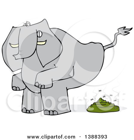 Clipart of a Cartoon Elephant Squatting and Pooping - Royalty Free Vector Illustration by djart