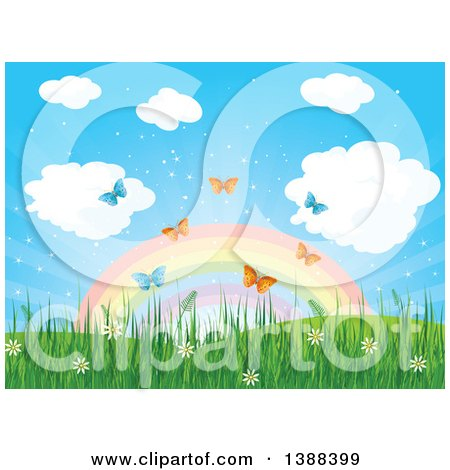 Clipart of a Spring Time Background with a Rainbow, Spring Flowers, Grass and Butterflies - Royalty Free Vector Illustration by Pushkin