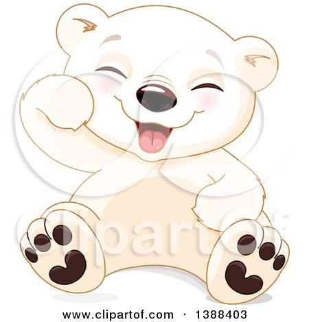 Clipart of a Cute Baby Polar Bear Cub Sitting and Laughing - Royalty Free Vector Illustration by Pushkin