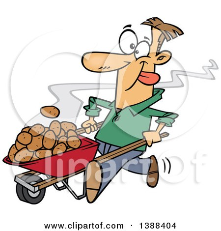 Clipart of a Cartoon White Man Pushing Hot Spuds in a Wheelbarrow - Royalty Free Vector Illustration by toonaday
