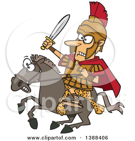 Cartoon Spartan Soldier, Alexander the Great, Wielding a Sword on a Horse Posters, Art Prints