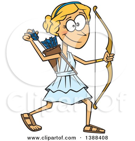 Clipart of a Cartoon Artemis Shooting Arrows - Royalty Free Vector Illustration by toonaday