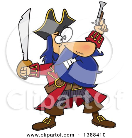 Clipart of a Cartoon Pirate Captain, Bluebeard, Holding up a Sword and Pistol - Royalty Free Vector Illustration by toonaday