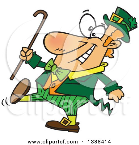 Clipart of a Cartoon St Patricks Day Leprechaun Holding a Cane and Strutting - Royalty Free Vector Illustration by toonaday