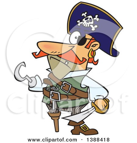 Clipart of a Cartoon Pirate Captain with a Peg Leg and Hook Hand - Royalty Free Vector Illustration by toonaday