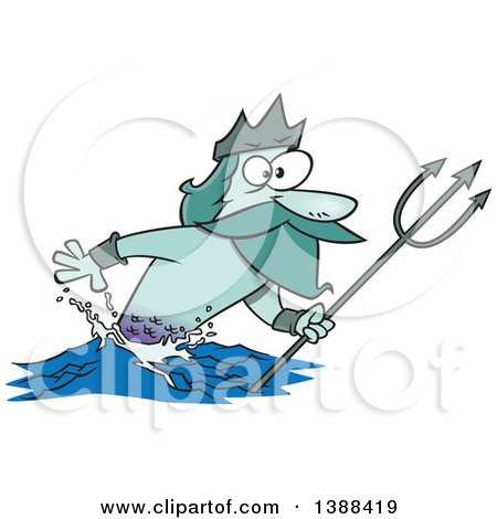 Clipart of a Cartoon Merman, Poseidon, Holding a Trident - Royalty Free Vector Illustration by toonaday
