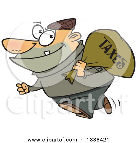 Clipart of a Cartoon White Male Robber Carrying a Bag of Taxes - Royalty Free Vector Illustration by toonaday