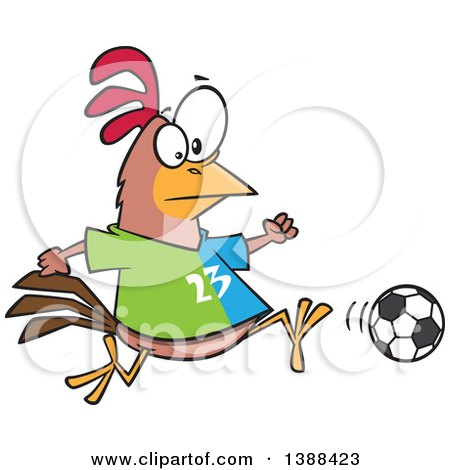 Clipart of a Cartoon Chicken Playing Soccer - Royalty Free Vector Illustration by toonaday