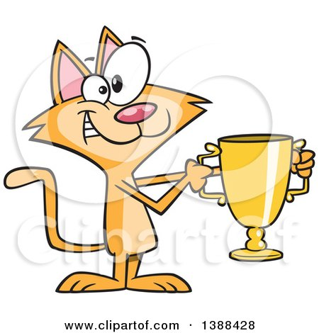 Clipart of a Cartoon Ginger Cat Champion Holding a Gold Trophy - Royalty Free Vector Illustration by toonaday